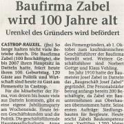 "Dattelner Morgenpost, 23. September 2010 - ""Baufirma Zabel wird 100 Jahre alt"""