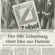 """Dattelner Morgenpost, 24. September 2010 - """"Der 100. Geburtstag einer Idee aus Datteln."""""""