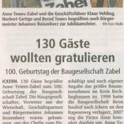 """Ruhr Nachrichten, 24. September 2010 - """"130 Gäste wollten gratulieren."""""""